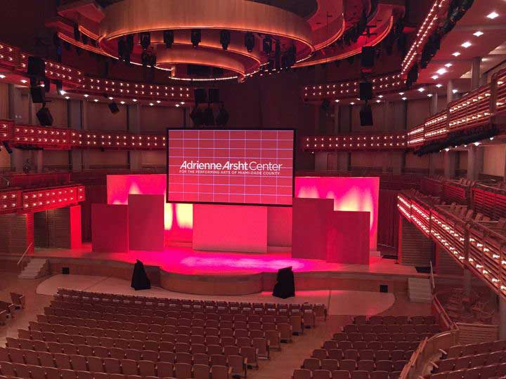 Adrienne Arsht Center in Miami showing interior hall. Photo of courtesy of Wedding Wire.