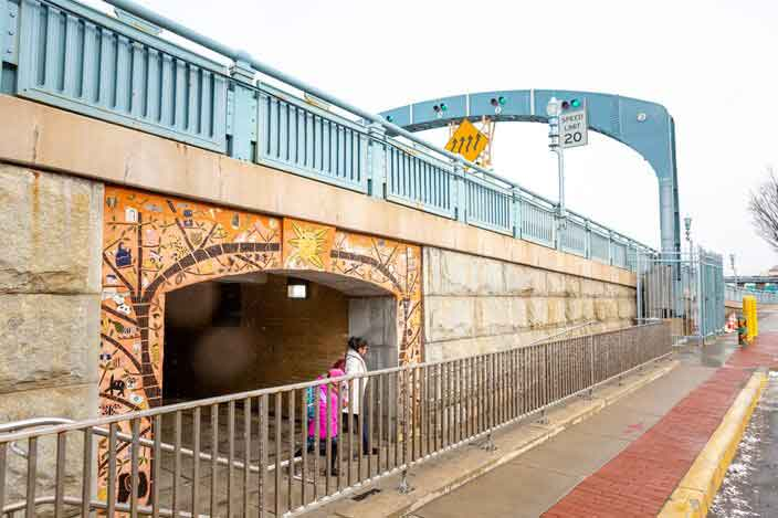 Tunnel under the bridge for pedestrian access. Photo courtesy of Thom Carroll/Philly Voice