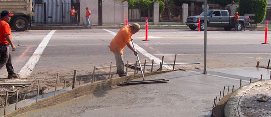 City of Compton public works, new sidewalk construction