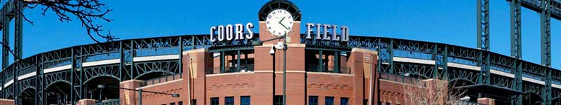 Coors Field stadium main entrance with clock tower