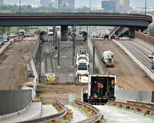 Construction of the Denver Regional Rail. Photo courtesy of Kiewit.