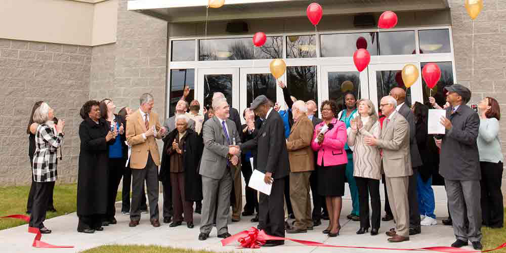 Balloon release at the center's grand opening