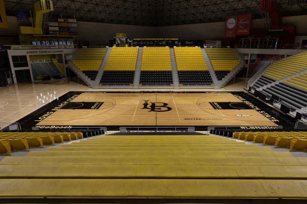 Interior and basketball court of the Pyramid Sports Complex. Photo courtesy of Long Beach State.