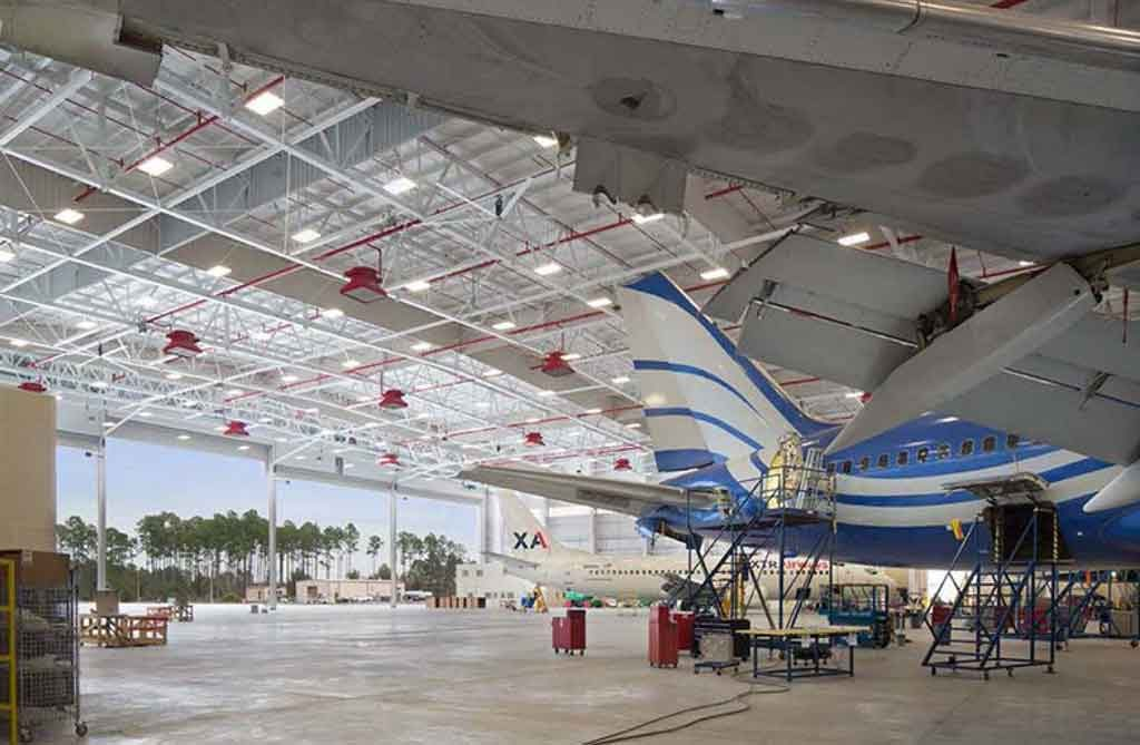 Hangar 955 with blue airplane Photo courtesy of MIchael Baker International