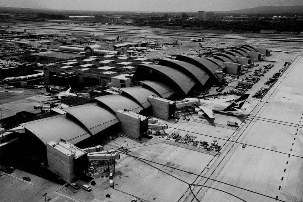 Aerial black and white photo of LAX. Photo courtesy of Allyn Polancic.