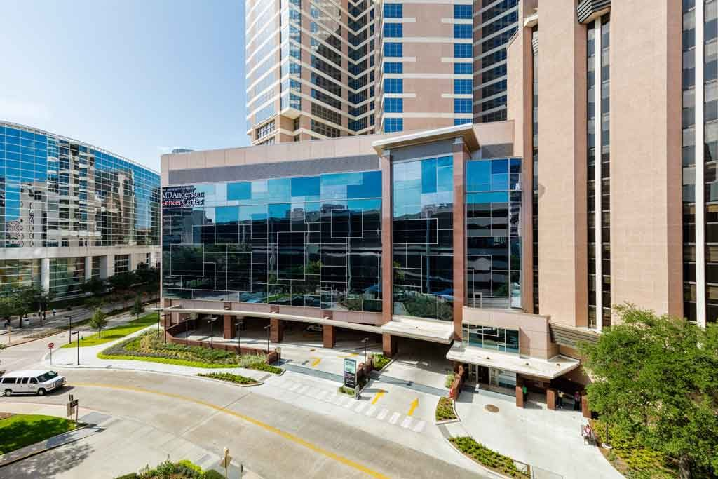 MD Anderson Cancer Center glass wall exterior. Photo courtesy o University of Texas Systems.