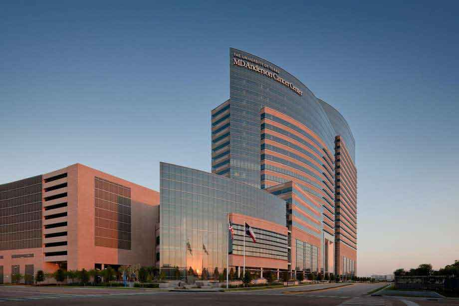 MD Anderson Cancer Center exterior. Photo courtesy of Aker Imaging.