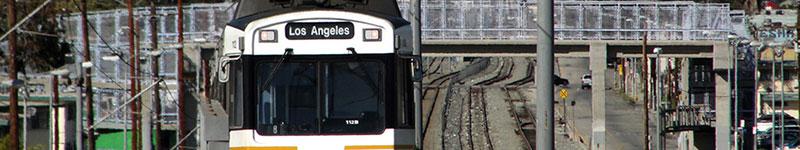 Railcar headed to Los Angeles on the Pasadena Blue Line