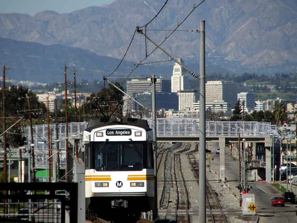 Pasadena Blue Line coming up a hill in Los Angeles. Photo by Justefrain