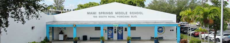 Miami Springs Middle School front entrance for top image