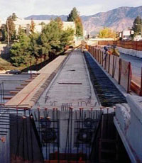 Rail tracks being laid for the Blue Line