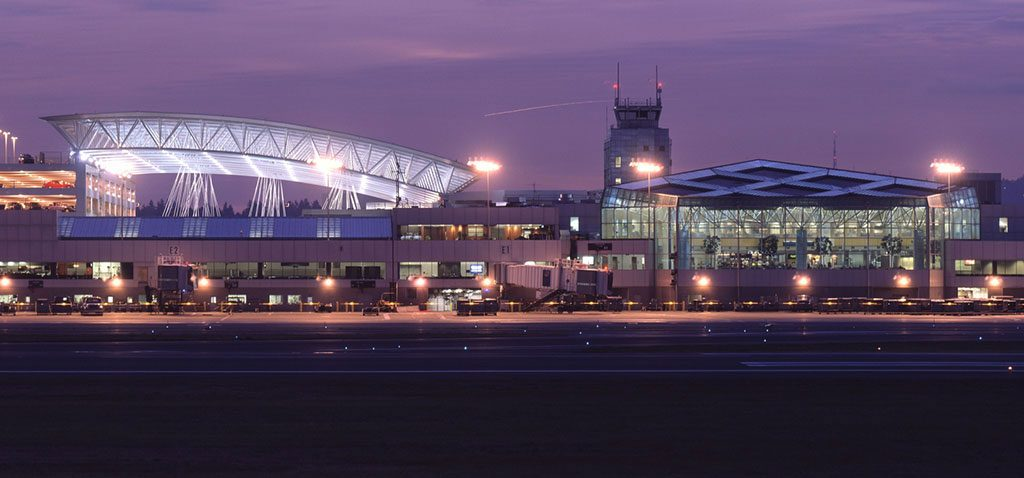 Portland International Airport at Sunset. Photo courtesy of 2GF Architects.
