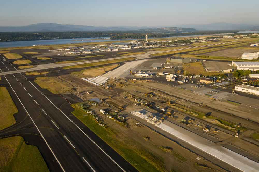 Aerial view of Portland International Airport taxiway