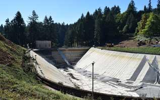 Portland's Washington Park Reservoir empty. Photo courtesy of portlandandoregon.gov