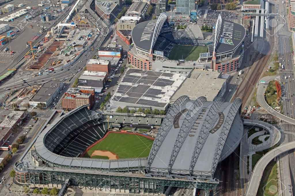 Safeco Field in Seattle aerial view. Photo courtesy of Christopher Fell/123F.