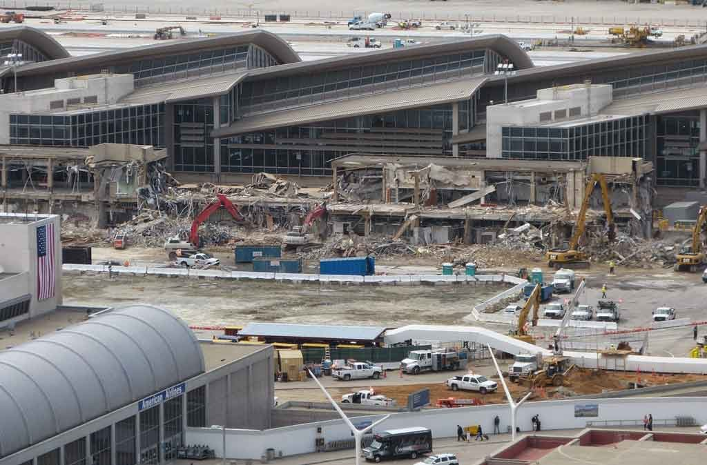 LAX under construction shows cranes and other construction equipment