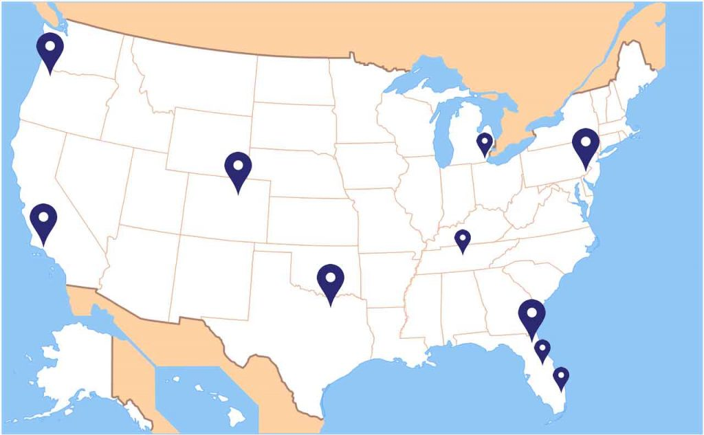 USA map showing of all CMTS LLC regional and satellite offices.