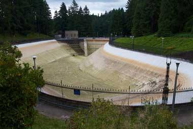 Washington Park Reservoir before being refilled. Photo courtesy of portlandandoregon.gov