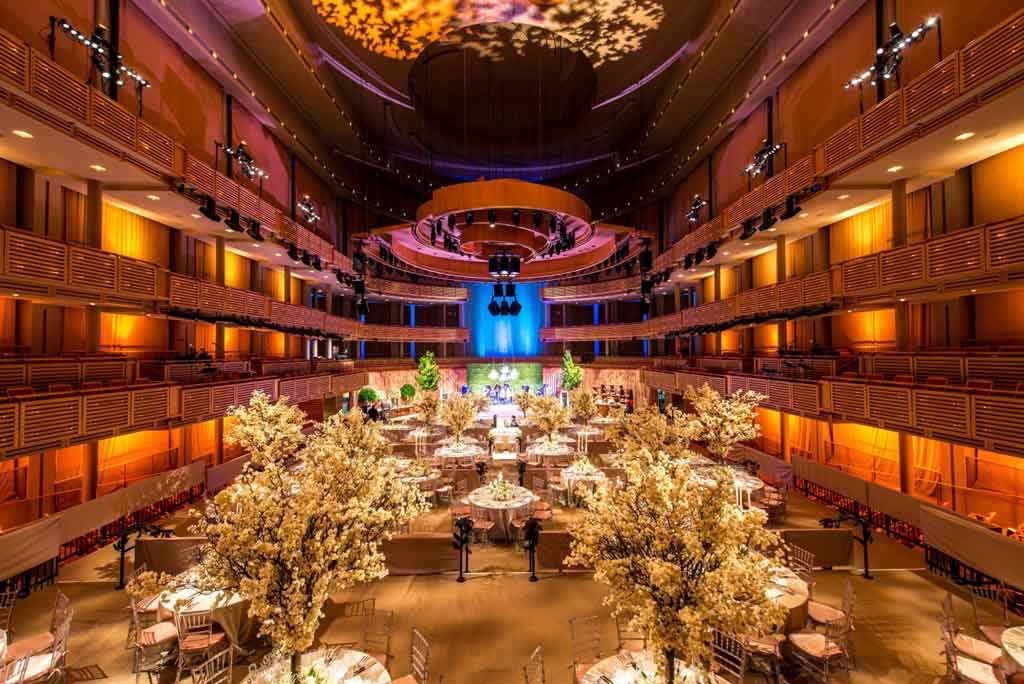 Adrienne Arsht Center in Miami showing interior hall set for wedding and reception. Photo courtesy miamiandbeaches,com