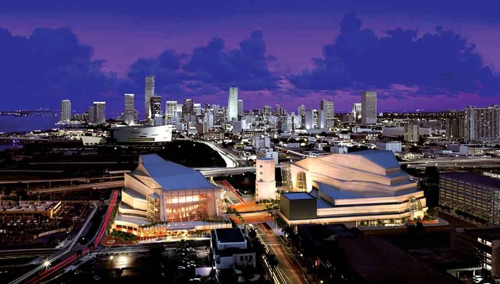 Adrienne Arsht Center in Miami aerial photo with Miami skyline.. Photo courtesy of Cosentini at Tera Tech Company.