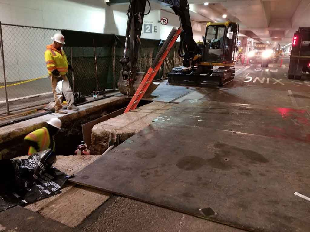 Pouring concrete at Ontario International Airport